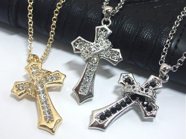 クロスネックレス 王冠 クラウン 十字架 シルバー...