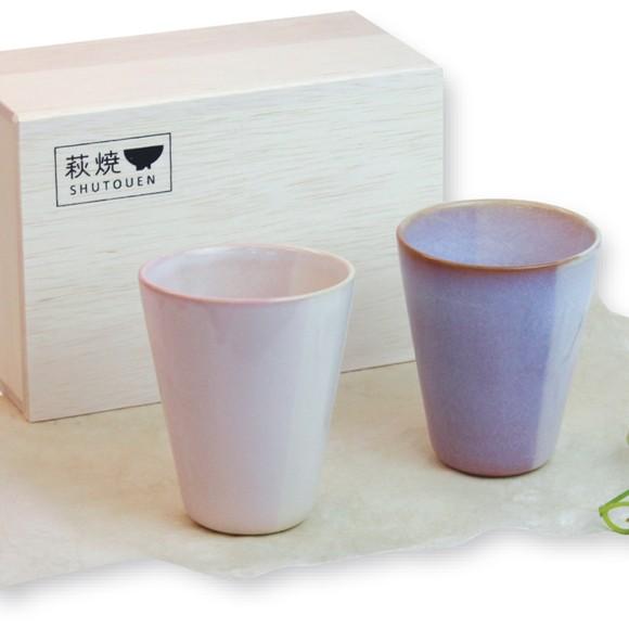 萩焼 陶器  Shikisai ペアカップ ギフトボックス 木箱入り ピンク 桜色 日本製 / グラス ビールグラス 湯呑 カップ