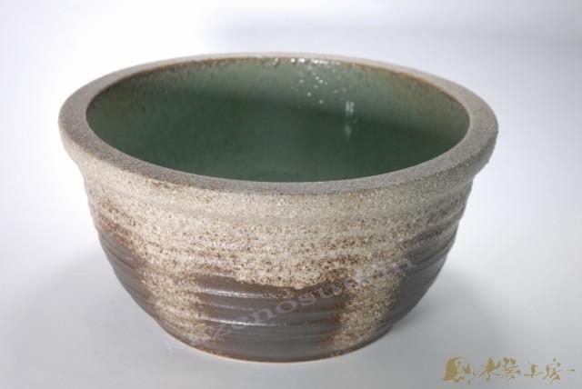 灰釉ひねり水鉢 13号  (信楽焼・陶器・水鉢・...