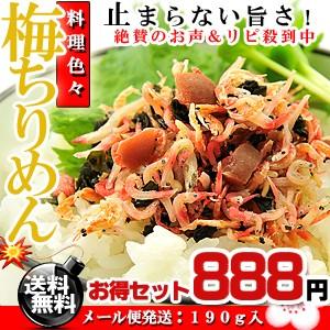 カリカリ梅と小魚のコラボ♪梅ちりめん 190g (95g...