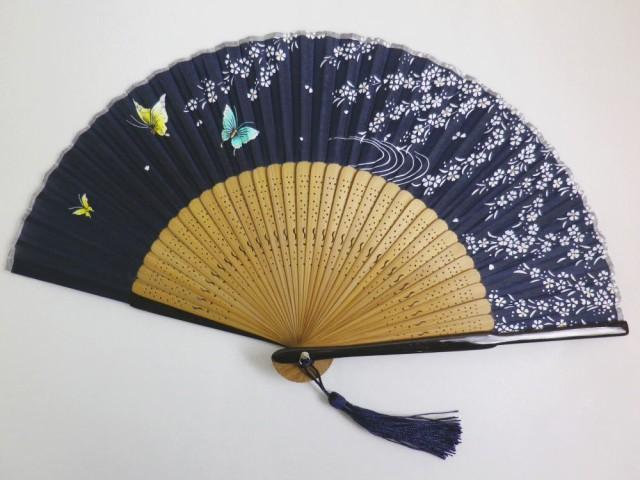 女性用レディースシルク扇子濃紺地枝垂桜蝶 浴衣...