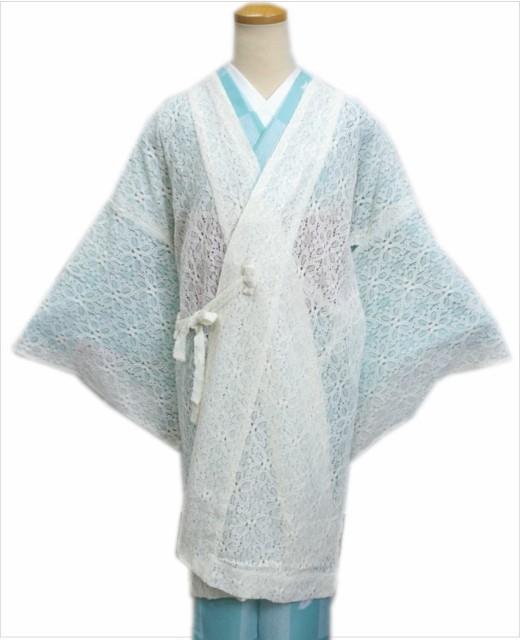 小粋なレース道中着コートオフホワイト(ロング丈) 和装着物の春夏秋必需品