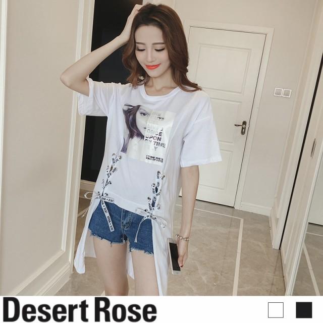 変形 Tシャツ 半袖 ロング丈 リボン 韓国風 新作