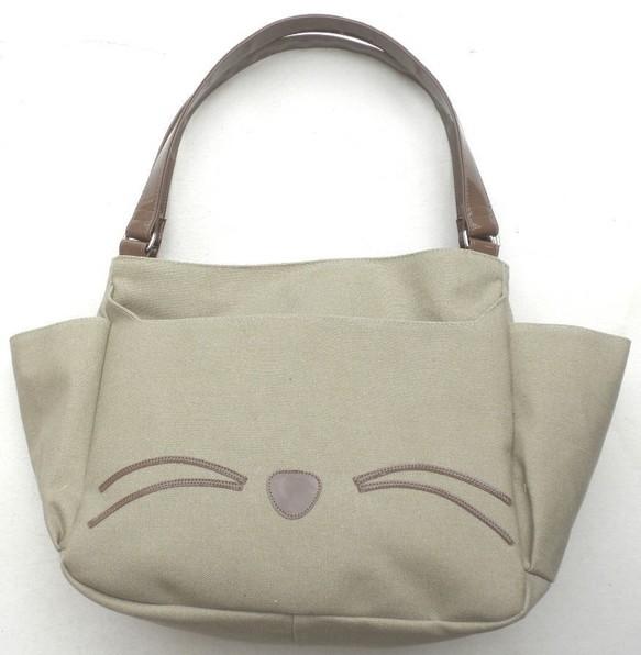 キャンバス トートバッグ 大容量 猫柄 ベージュ ...