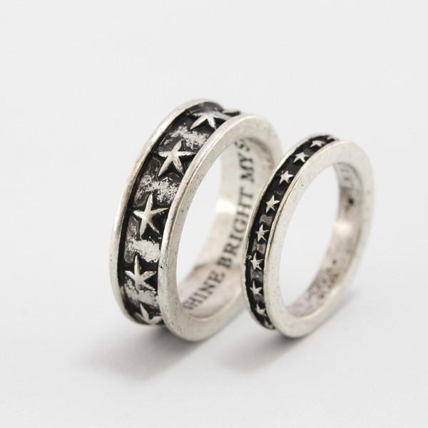 指輪2本セット スター 星柄 ペアリング|ブラ...
