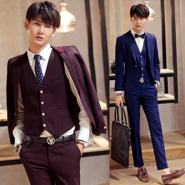 韓国スタイル/メンズセットアップ 上下3ピース ベスト+パンツ+ジャケット メンズ 紳士 細身 入学式 卒業式 結婚式 成人式