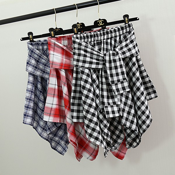 呪文の色 野生 格子縞 不規則 短い スカート...