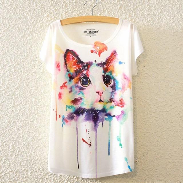 【送料無料】猫 Tシャツ 猫柄 猫のデザイン レデ...