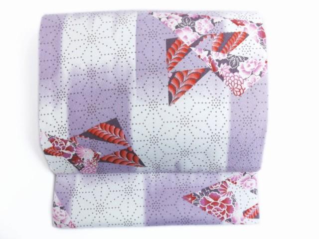 簡単お太鼓結び軽装帯作り帯付け帯薄紫白地麻の葉...