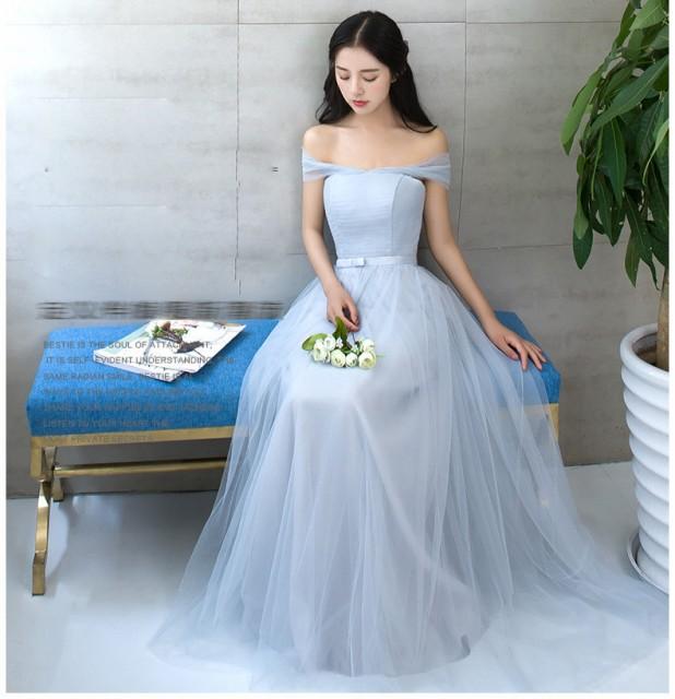 ロングドレス ウェディングドレス フェミニン パ...