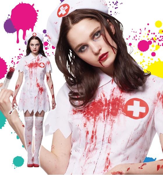 ハロウィン コスプレ 衣装 レディース 女性 大人 ホラー ゾンビ 仮装 コスチューム 看護婦 スプラッターナース Ladies
