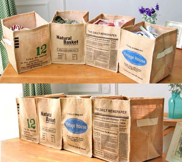 送料無料 おしゃれな 天然 麻 ジュート 収納 BOX 折りたたみ 収納箱 ケース