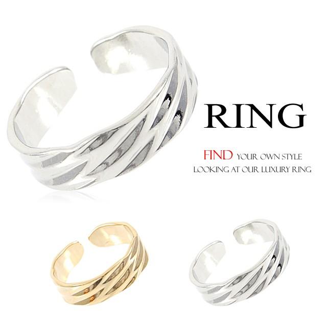 ウェーブ幅広リング 指輪 フリーサイズリングBN...