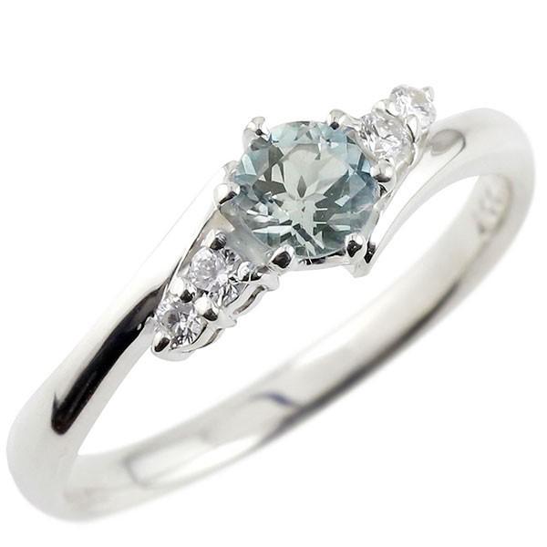 指輪 アクアマリン ダイヤモンド リング 一粒 大...