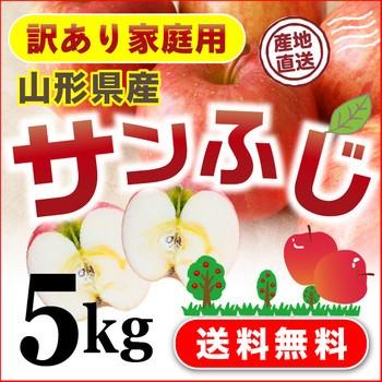りんご 山形県産  ご家庭用 訳あり サンふじ 5k...