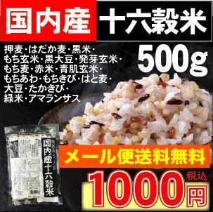 【メール便 袋 送料無料】国内産十六穀米500g【国...