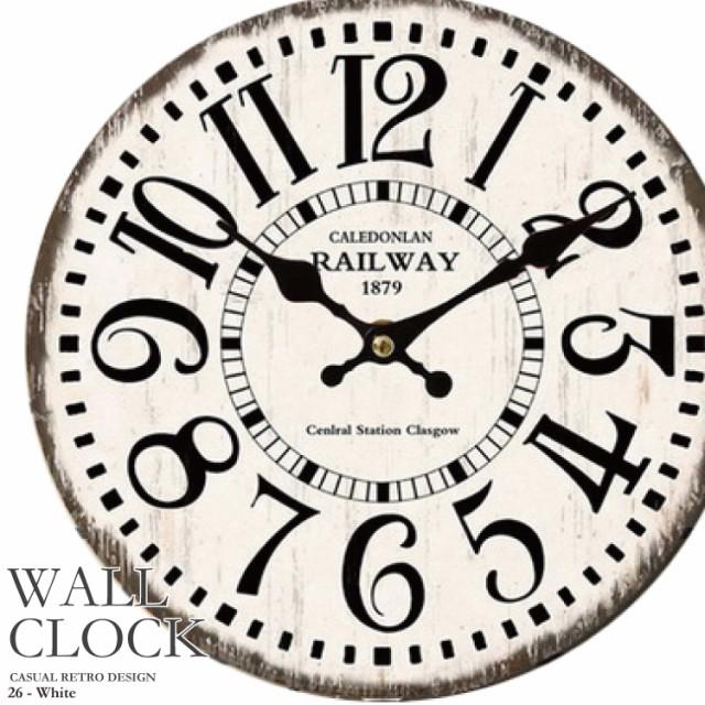 幅34cm 壁掛け時計 ホワイト レトロ調 アンティー...