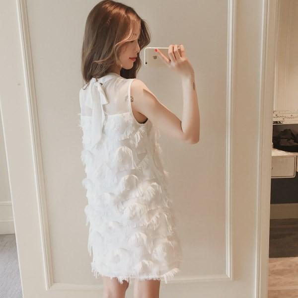 ノースリーブ ベスト ドレス 妖精 白い羽 スカー...