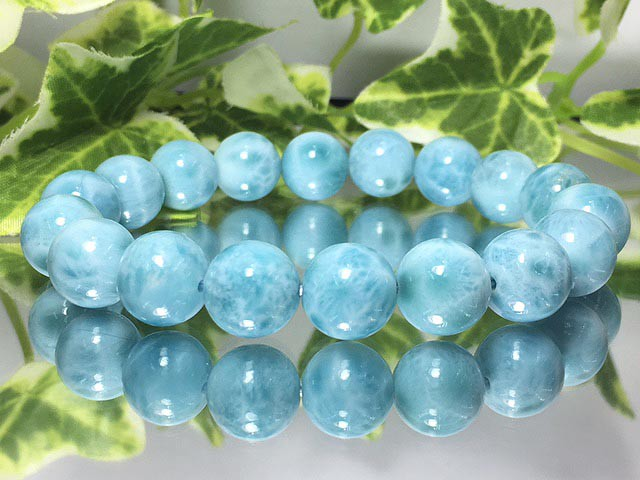 現物商品!美麗天然石☆AAラリマー 10ミリ数珠 ...
