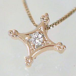 ダイヤモンド ネックレス ピンクゴールド クロス ...