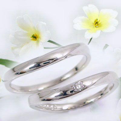 ダイヤモンド ホワイトゴールド ペアリング 結婚...