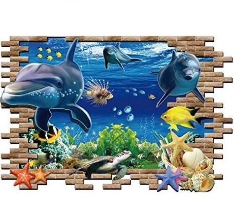 ウォールステッカー 飛び出す 海底のイルカ 3D 壁...