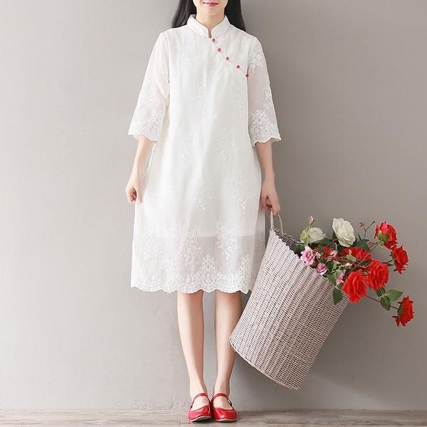 Xiajiセン レトロ 白いドレス 刺繍 シフォンスカ...