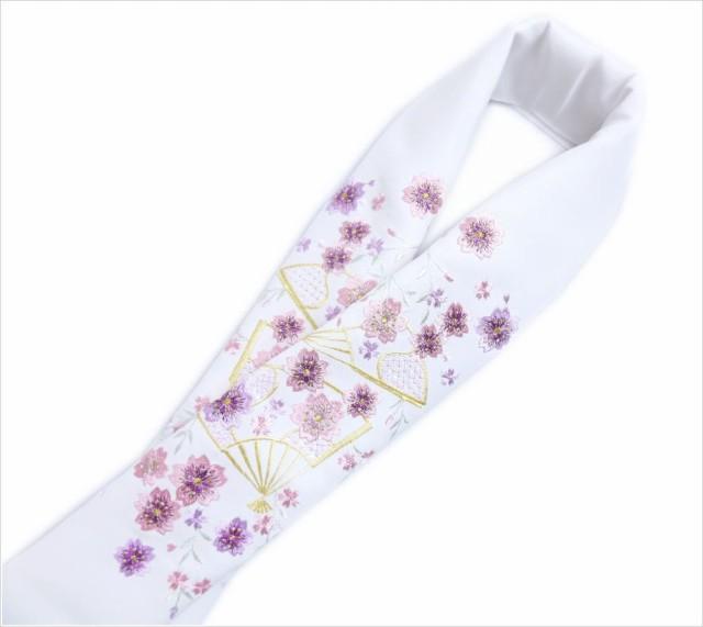 ラメ&刺繍半衿半襟白地扇子枝垂桜紫ピンク 振袖...