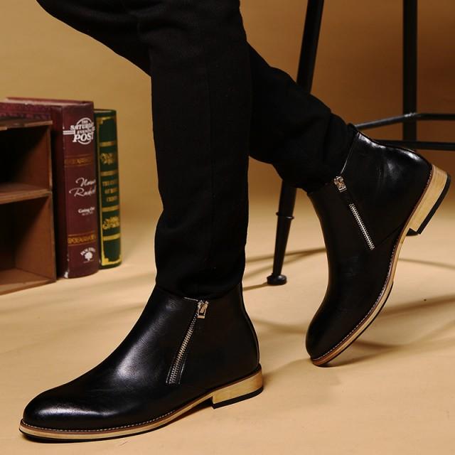 送料無料靴 メンズ 革靴 ブーツ ショートブー...