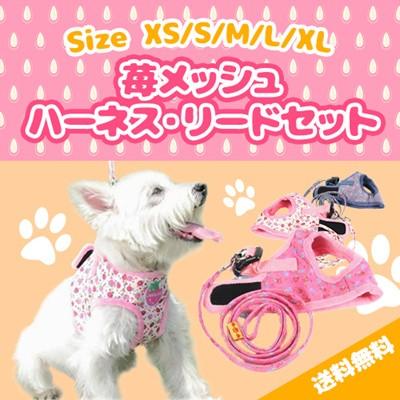 苺メッシュハーネス・リードセット【犬用品・お散...