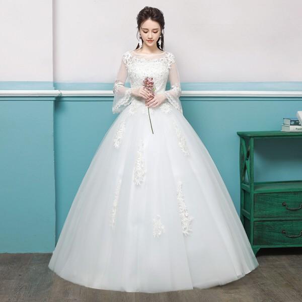 人気 ウェディングドレス/結婚式/二次会/ホワイ...