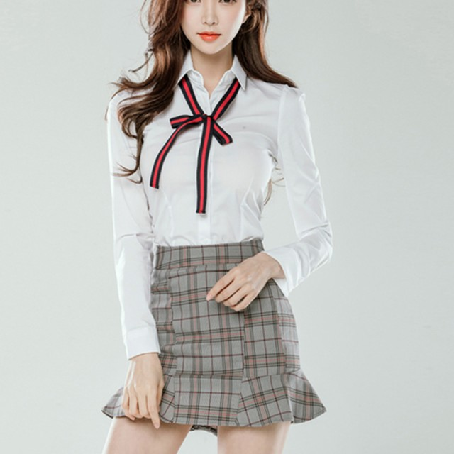 白シャツ&チェック柄ミニスカートセット セット...