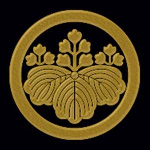 一般家紋蒔絵シール 15.丸に五三桐/GD