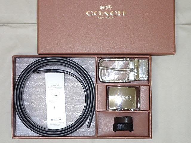 ★COACH  コーチ リバーシブル ベルト バックル2個付き 61945 メンズ 値下げ18440円が 【中古】【未使用】