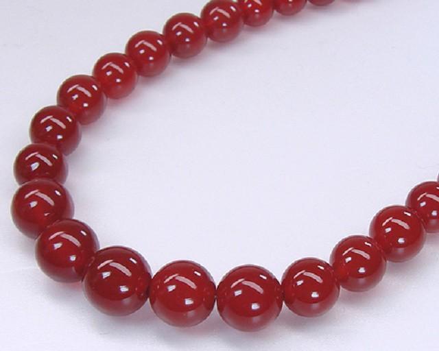 天然赤メノウ(瑪瑙)ネックレス/6.0-12.0ミリグ...