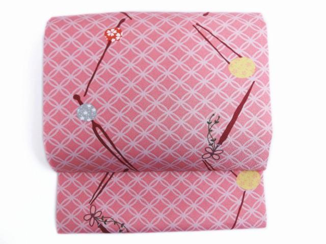 簡単お太鼓結び軽装帯作り帯付け帯ピンク色地珠か...