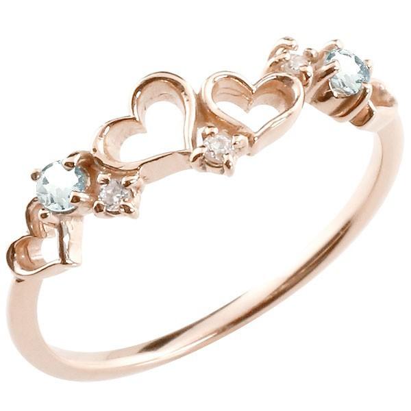 指輪 ダイヤモンド オープンハート リング アクア...