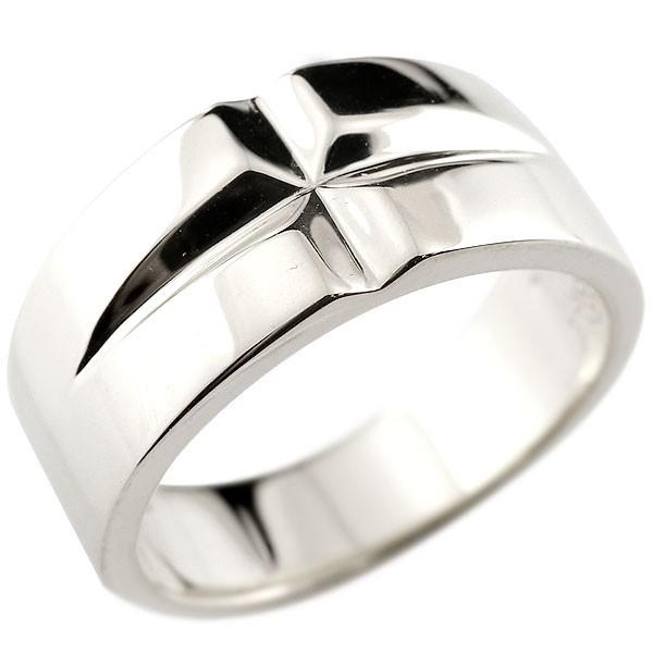 指輪 メンズ クロス シルバーリング 幅広 ピンキ...