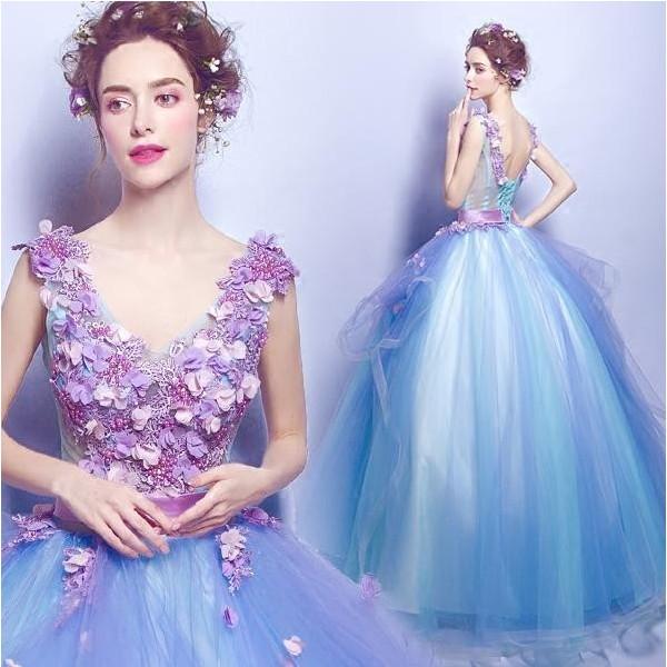 豪華な花柄ウエディングドレス パーティードレス...