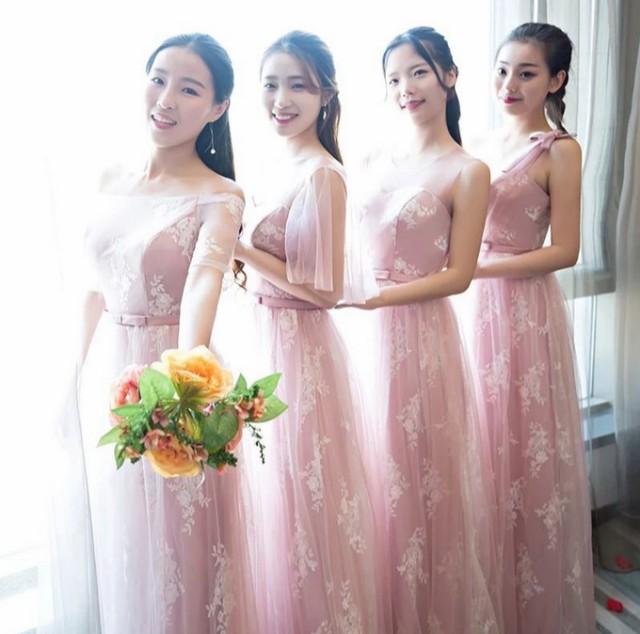 ピンク Aライン フォーマル ブライズメイドドレス...