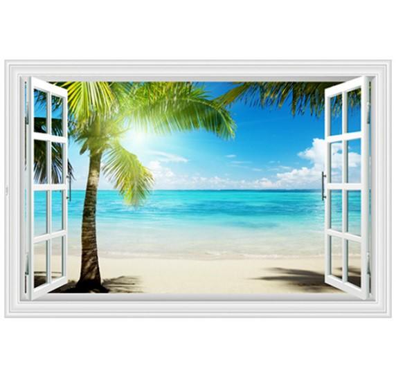ウォールステッカー 窓 ヤシの木とビーチの風景 ...