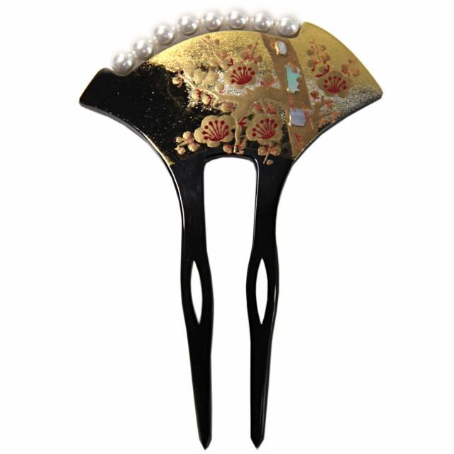 バチ型かんざし -113- 二本挿し 髪飾り パール 蒔...