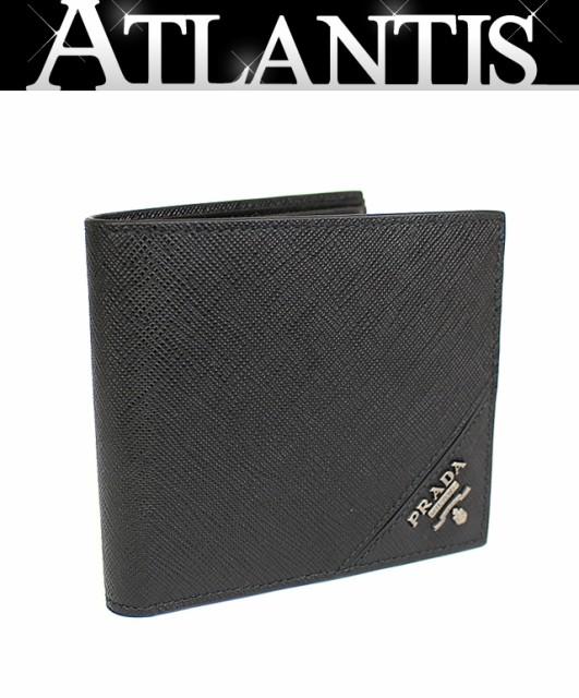 未使用 プラダ 二つ折り 財布 レザー 黒 ブラック...
