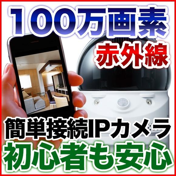 接続簡単IPカメラ ペット ベビーモニター 100万画...