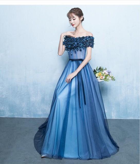 ロングドレス  オフショルダー カラードレス  ...