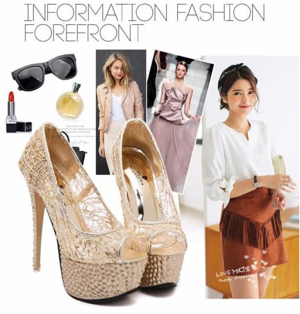 高品質 ファッション ハイヒール厚底靴  パンプス...