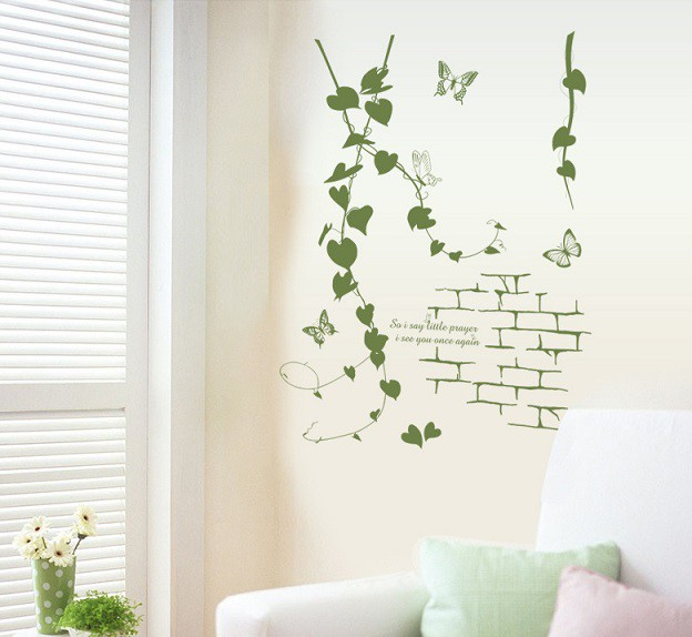 ウォールステッカー ハートリーフの蔦と蝶々 壁紙...