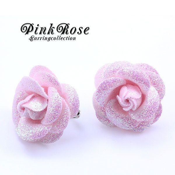 ピンクの薔薇ローズイヤリング レディース お花 ...
