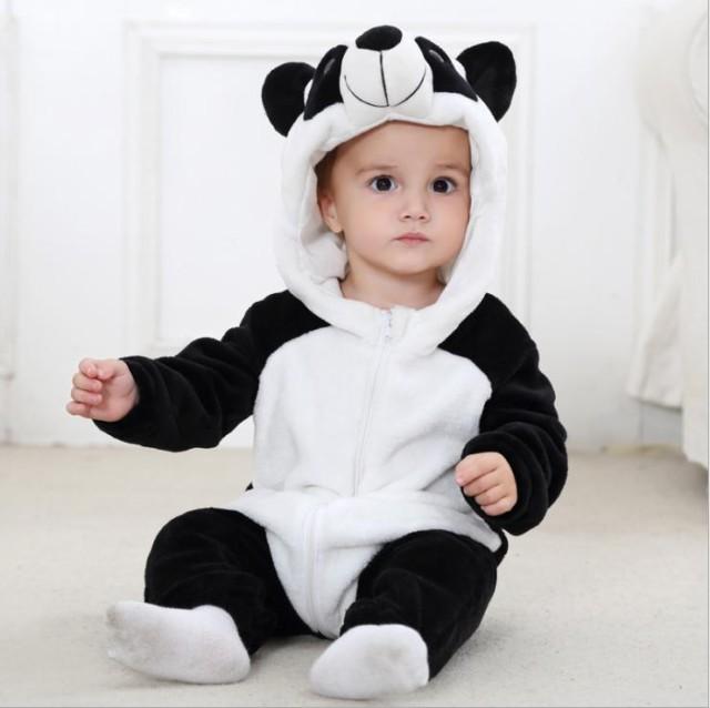 パンダさん 着ぐるみ 動物型 ロンパース 子供 ベ...
