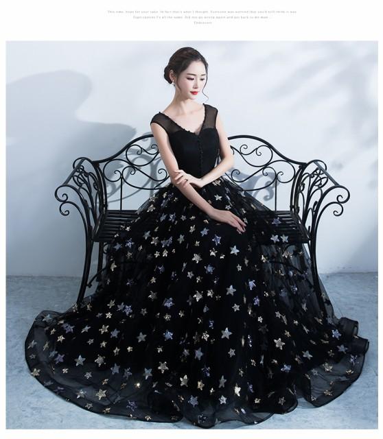 高品質 星柄 秋冬 素敵 ロングドレス プリンセス ...